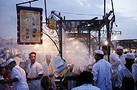 Morocco, Marrakech, Place Djemma el Fna, Food Stall at dusk