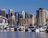 Vancouver, downtown skyline rises above waters of Coal Harbor, Vancouver, British Columbia, Canada