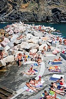 Tourism in summer in Vernazza, Cinque Terre, Liguria, Italy