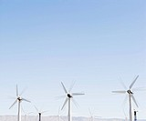 Wind turbines spinning in wind