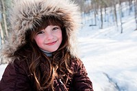 Girl wearing winter coat, portrait