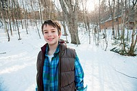Boy in snow, portrait