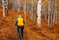 Senior woman mountain biking in fall season