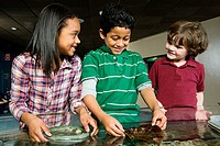 Three friends at aquarium, boy holding seaweed