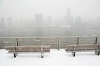 New York City skyline in winter, New York, USA