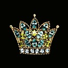 Vintage jeweled crown brooch