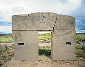 Bolivia, Tiwanaku (Tiahuanaco), pre-Inca archaeological site. Sun Gate. 2nd-4th century.