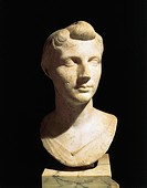 Roman civilization, 1st century b.C. Bust of Octavia the Younger. From Velletri, Lazio Region, Italy.  Rome, Museo Nazionale Romano (National Roman Mu...