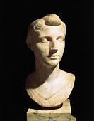 Roman civilization, 1st century b.C. Bust of Octavia the Younger. From Velletri, Lazio Region, Italy.  Rome, Museo Nazionale Romano (National Roman Mu...