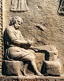 Relief depicting goldsmith at work aurifex brattiarius, detail