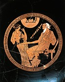 Greek civilization, 5th century b.C. Red-figure pottery. Attic kylix attributed to the Brygos Painter. Inner decoration depicting Briseis and Phoenix ...