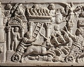 Roman civilization. Relief depicting circus races. Detail.  Rome, Museo Della Civiltà Romana (Museum Of Roman Civilisation)