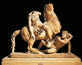 Greek civilization. Sculptural group depicting amazon on horseback knocking down a Galatian. Copy after Pergamon.  Rome, Museo Nazionale Romano (Natio...