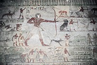 Egypt - Necropolis of Beni Hasan. Tomb of Khnumhotep III. Detail: mural painting depicting hunting scene.