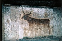 Egypt, Luxor, Valley of the Kings, Tomb of Seti I, interior frescoes depicting goddess Nut as cow