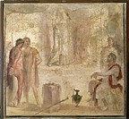 Roman civilization. Orestes and Pylades before Iphigenia. Fresco from Pompei, House of the Golden Cupids.  Naples, Museo Archeologico Nazionale (Archa...