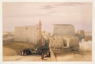 Egypt, 19th century. Entrance to the Temple of Luxor. Engraving based on a drawing by David Roberts (1796-1864), from Egypt and Nubia, 1846-1850.