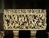 Roman civilization, 3rd century A.D. Marble sarcophagus known as Amendola sarcophagus with battle scenes between Romans and Barbarians.  Roma, Museo C...