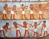 Egyptian civilization, New Kingdom. Fragment of wall painting depicting a sowing and harvesting scene. From the tomb of Onsu at west Thebes. Detail.  ...
