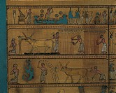 Egyptian civilization, Late Period, 1st century b.C. Book of the Dead of priest Hornedjitef: agricultural work in the Afterlife.  Paris, Musée Du Louv...