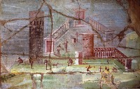 Ancient Roman fresco with landscape from Pompeii, 1st Century