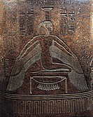 Egyptian civilization, New Kingdom, Dynasty XX. Granite sarcophagus of Ramses II, height 180 cm. From the Valley of the Kings. Detail, Isis.  Paris, M...