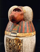 Egyptian civilization, Third Intermediate Period, Dynasty XXII. Canopic vase of Padiuf, priest of Amon (1069-664 b.C.). Hapi in baboon form, painted w...