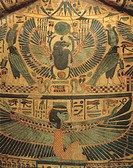 Egyptian civilization, Third Intermediate Period, Dynasty XXI-XXII. Detail of mummy cover with winged divinity protecting a scarab, symbol of eternity...