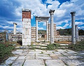Turkey, Aegean Region, Ancient Ephesus, Monumental access and archway of roman stock exchange building, later Christian church of St. Mary