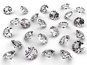 Several diamonds with realistic soft shadows on white. High resolution 3D image
