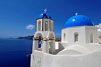 Blue dome whitewash buildings Oia Santorini Greece Island Mediterranean Cruise Aegean