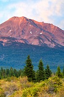 Mount Shasta volcano at sunset, Cascade Range, Siskiyou County, California