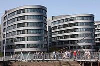 Modern building Five Boats, Marina Duisburg, inner harbor, Duisburg, North Rhine-Westphalia, Germany, Europe