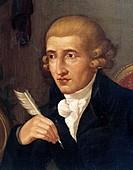 Austria - 18th-19th century. Portrait of Franz Joseph Haydn (Rohrau, 1732 - Vienna, 1809), Austrian composer. Detail.  Bologna, Civico Museo Bibliogra...