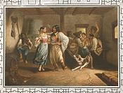 Hungary - 18th century. Popular Gypsy Dance. Engraving, ca. 1850.  Budapest, Zenetorteneti Muzeum (Music History Museum)