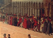 Gentile Bellini (ca. 1429-1507), Procession in Piazza San Marco (St. Mark's Square), Venice. Detail: the musicians.  Venice, Accademia (Picture Galler...