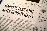 stock market page in a newspaper