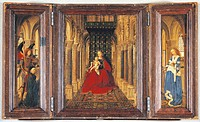 Jan van Eyck (ca. 1390-1441), Triptych with Archangel Gabriel, the Donor and Saint Catherine.  Dresda, Gemäldegalerie Alte Meister (Old Masters Galler...