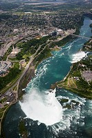 aerial view of helicopter flight over niagara falls area ontario canada