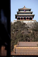 Wanshou Pavillion in the top of the hill of Jingshan Park Prospect Hill Park  Beijing  China