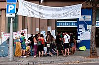 'Indignados' the outraged, closure protests Hospital Dos de Maig, Barcelona, Spain