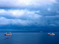 Southern Italy, Amalfi Coast, Piano di Sorrento, View of cloudy sky with cruiseliners in sea