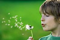 Germany, Close up of boy blowing dandelion seeds