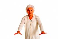 elderly woman gesturing