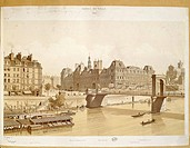 France - Paris - 19th century. The city council and the riverside, engraving (1842)  Paris, Bibliothèque Des Arts Decoratifs (Library)
