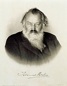 Germany, engraved portrait of German composer, pianist and conductor Johannes Brahms