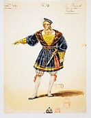 Gioacchino Rossini (1792-1868), Guillaume Tell (William Tell), 1828. Costume sketch for Gessler (performed by Prevost) by H. Lecomte, for the premiere...