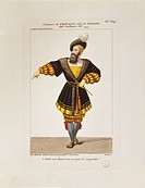 France, Paris, costume sketch for Gessler for performance William Tell at Theatre de l´Academie Royale de Musique