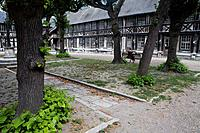 Buildings with half-timbered in Aitre Saint Maclou courtyard, used as a burial ground during the Middle Ages  Rouen, in Seine-Maritime department  Upp...