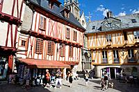Typical houses with half-timbered in the medieval town of Vannes, Morbihan department, Brittany region, France